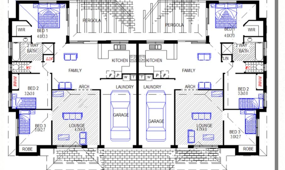 Duplex Kit Home Plan 234DUK 234.2m2 6 Bedrooms 2 Bath 2