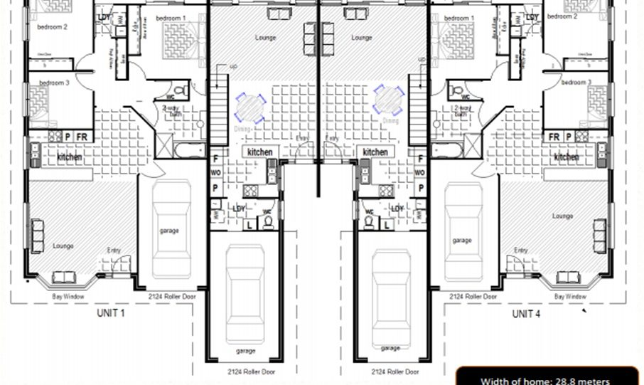 Duplex Kit Home Plan 380TH 380m2 12 Bedrooms 4 Bath 2