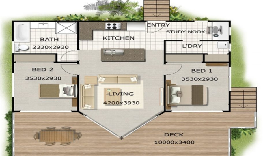 One Storey Kit Homes Plan 100 A 100 m2 2 Bed 8