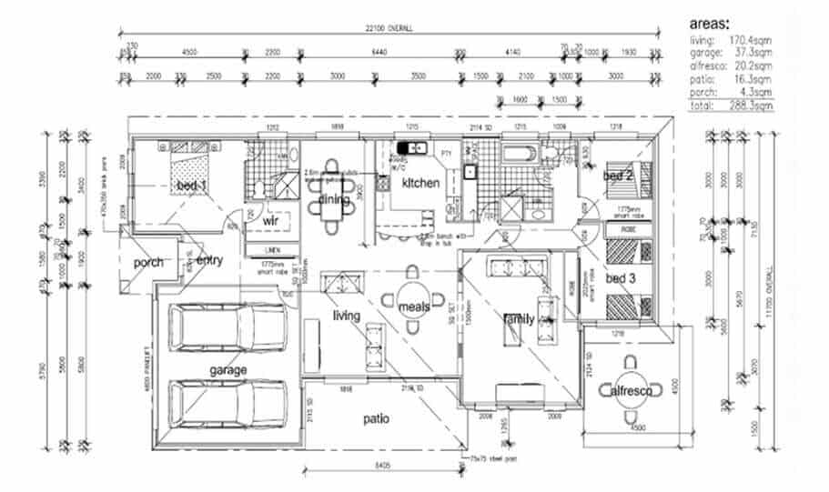 One Storey Plan 288 02