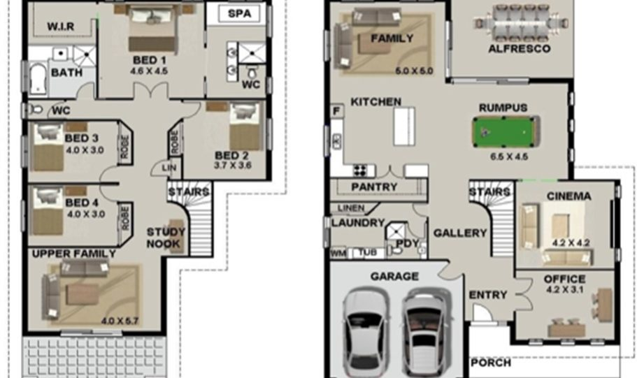 Two Storey Kit Home Plan 350 358 m2 4 Bed 3 Bath 2